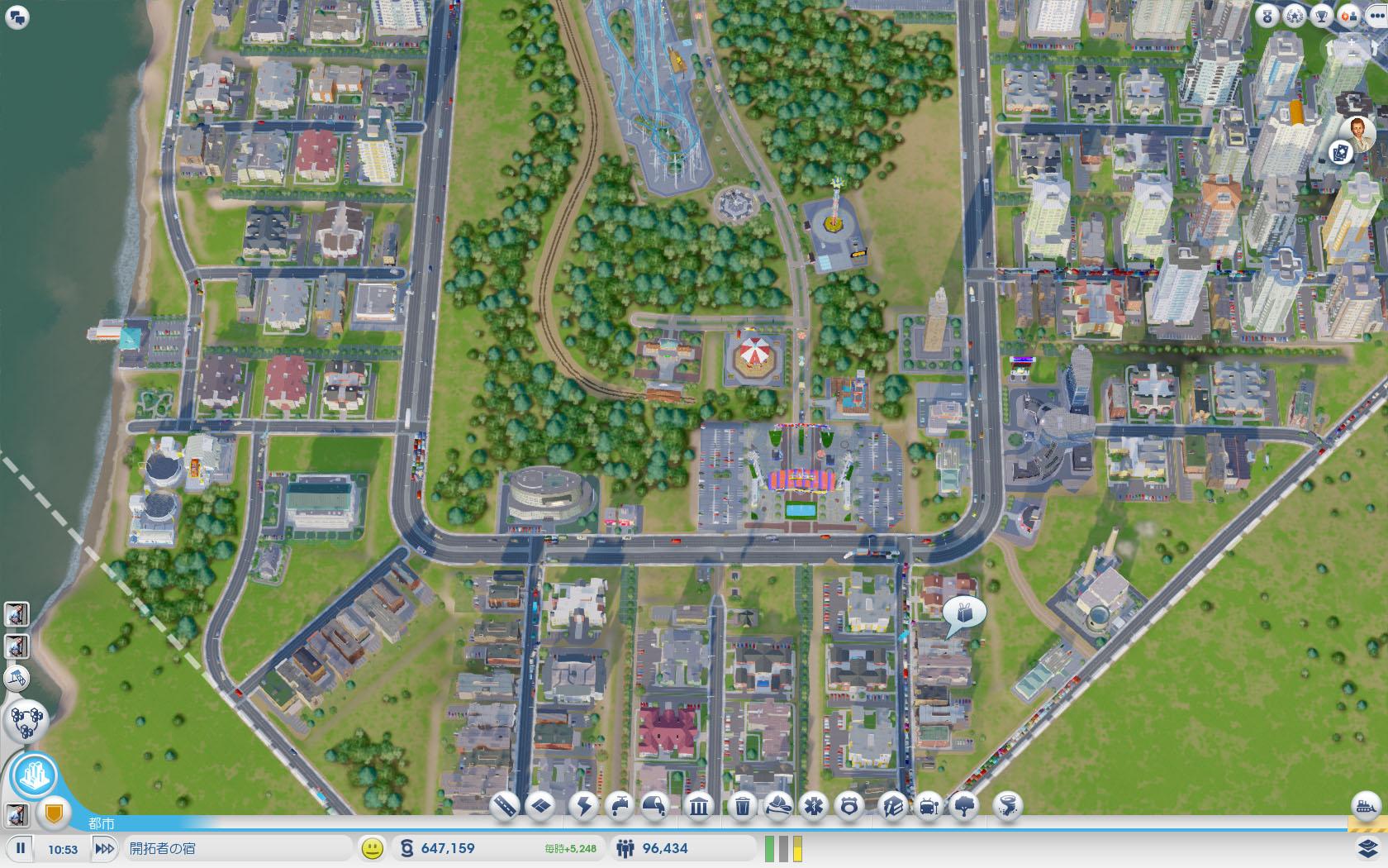 高速出口が2カ所あるマップを使い、放射線状に大通りを引き、放射線状に高密度道路をレイアウトしてみた例。